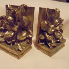 BEAUTIFUL MAGNOLIA BLOSSOM GOLD SET OF BOOKENDS BY CBK...RESIN MIX...1995