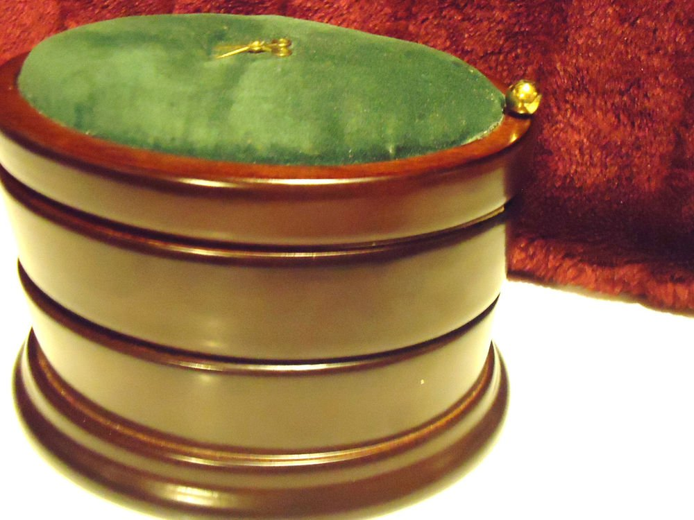 "SOLID MOGOHANY WOOD 3 TIER SEWING BOX BY BONBAY CO....5"" TALL & 7 1/2"" WIDE"