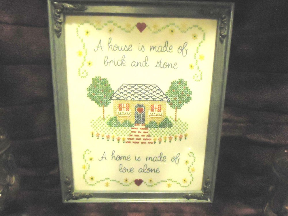 """VINTAGE FRAMED CROSS STITCH SAMPLER-""""A HOME IS MADE OF LOVE ALONE"""" 15 1/2""""TALL"""