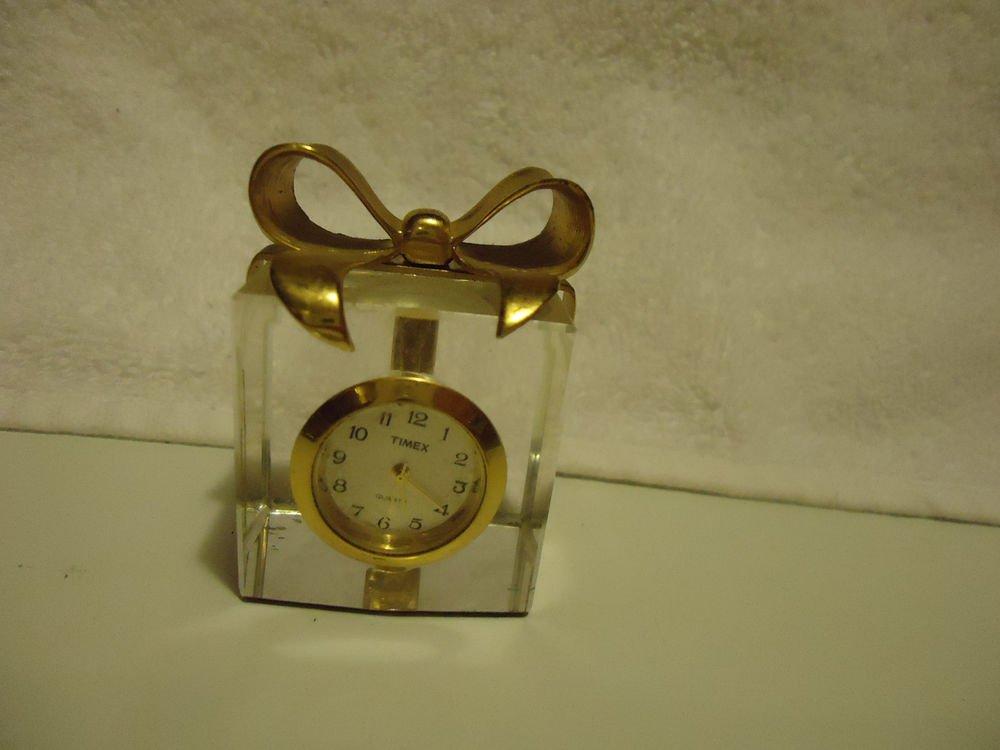 "MINATURE TIMEX GIFT BOX CRYSTAL BASKET CLOCK...2 1/4"" TALL..."