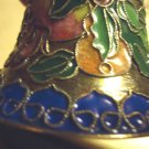 "3  1/2"" HIGH CLOISONNE BELL....BEAUTIFUL DESIGN...SILVER TRIM...HAS HANGAR"
