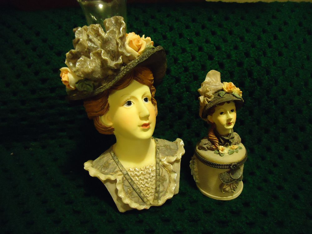 SET-TRINKET BOX &  LADY HEADVAS.DETAILED/DELICATE MOLDED...GREAT COLORING..CHINA