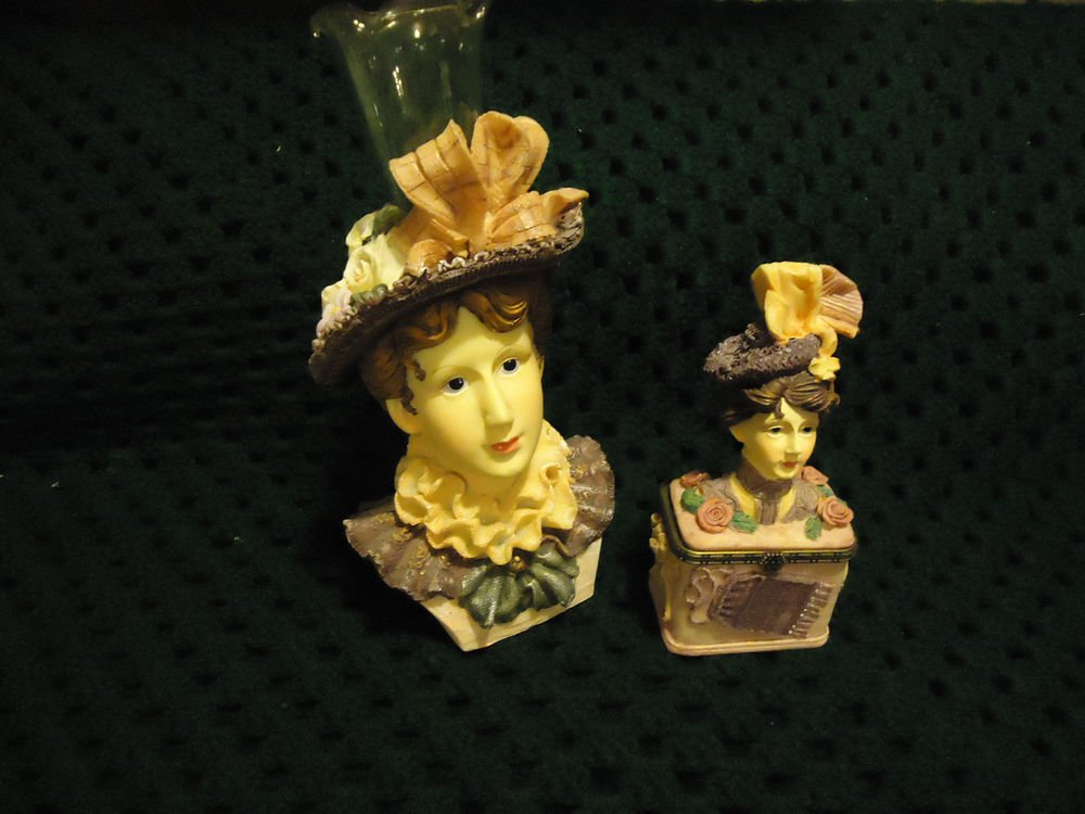 TRINKET BOX &  LADY HEADVASE ...DETAILED/DELICATE MOLDED...GREAT COLORING..CHINA