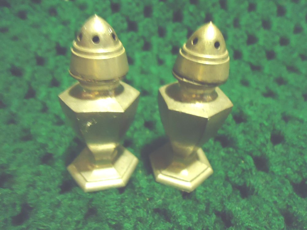 """PEWTER  SALT & PEPPER SHAKERS...C & S CO #317...APPROX .2 1/2"""" TALL"""