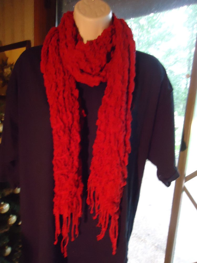 EXPANDABLE BURNT ORANGE GIRLS/LADIES  LONG SCARF...NICE SIZE..WITH TASSELS