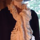 CREAM RUFFLED  GIRLS/LADIES LONG SCARF...NICE SIZE..GREAT FULLNESS