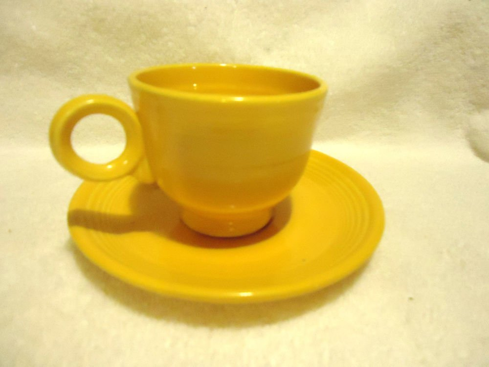 "VINTAGE FIESTA YELLOW CUP & SAUCER...GREAT CONDITION...6"" SAUCER"