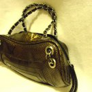 GOLD/BLACK BIJOUX TERNER PURSE WITH GOLD/BLACK CHAIN HANDLES..SMALL TYPE