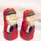 "NICE SET OF TWO SANTA CANDLE HOLDERS.....5"" TALL....CERAMIC"