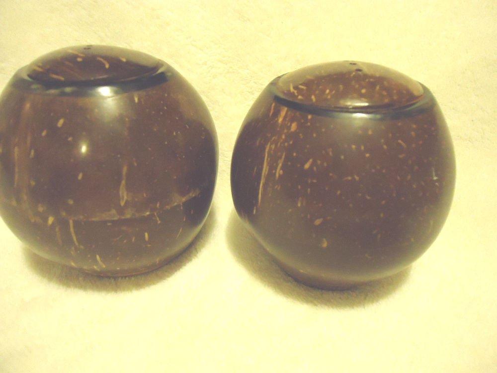 VINTAGE BROWN COCONUT SALT & PEPPER SHAKERS....UNIQUE & LARGE SIZE