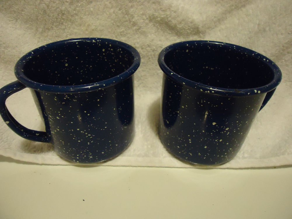 ENAMELWARE BLUE/WHITE SPECKLED CUPS SET OF TWO....