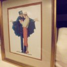 "NORMAN ROCKWELL ""LOST IN PARIS"" FRAMED & DOUBLE MATTED..OVERALL SIZE 15"" X 13"""