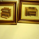 FRAMED (2) SET OF CROSS STITCH PICTURES OF PIANO & ORGAN..GOLD FRAMES...NICE