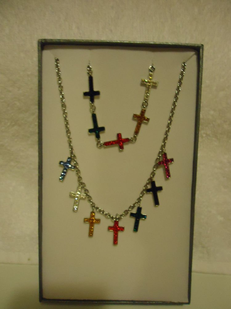 7 COLOR AUSTRIAN CRYSTAL CROSS DANGLE NECKLACE AND BRACELET...NEW..FREE SHIP