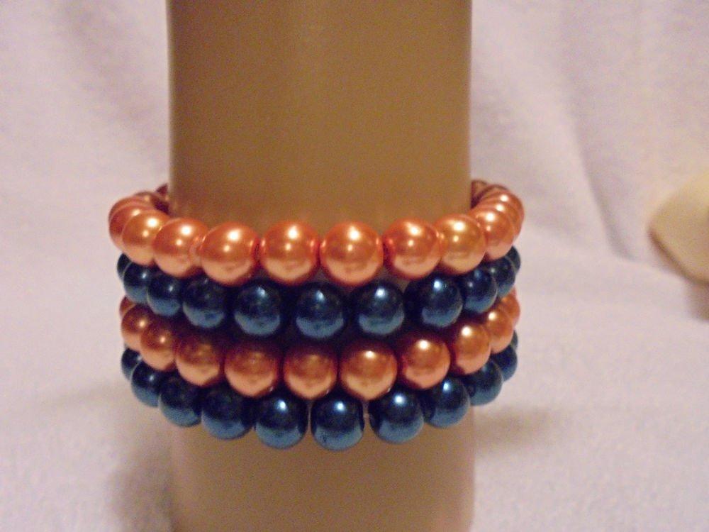 BEADED STRETCH BRACELETS....8MM..SET OF 4 GOLDEN & BLUE....GREAT COLORS