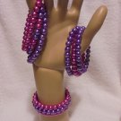 SET OF 3 BEADED STRETCH BRACELETS....8MM...PURPLE & PINK....GREAT COLORS