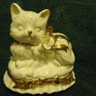 "BEAUTIFUL/CHARMING CAT LEFTON..WHITE/GOLD TRIM..ROTATES & PLAYS ""MEMORIES"""