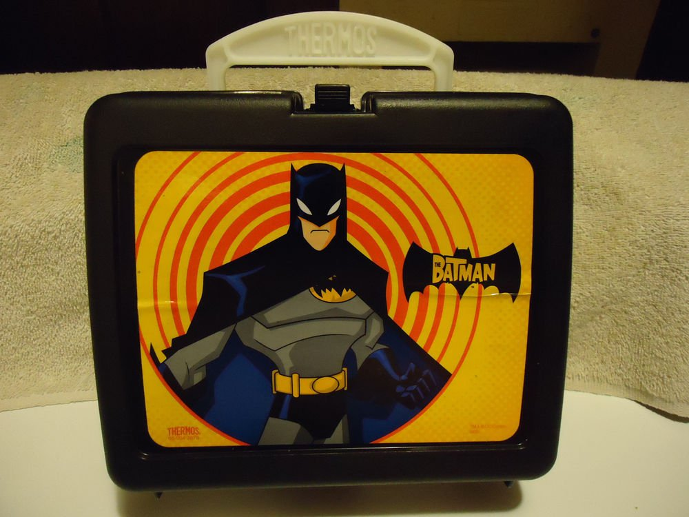 BRIGHT COLORED BAT MAN HARD PLASTIC LUNCH BOX WITH THERMOS....