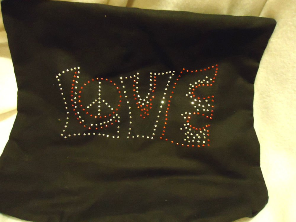 """BLACK WITH """"LOVE"""" & PEACE SIGN IN SHINY BRADS...MEDIUM...SOFT POLISHED COTTON"""