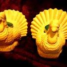 VINTAGE PAIR OF TERRA COTTA TURKEY CANDLEHOLDERS - FOR THE FALL SEASON