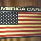 "PLUSH ""AMERICA CARES"" BLANKET.. FLAG RED, WHITE & BLUE...54"" X 34""...NICE."