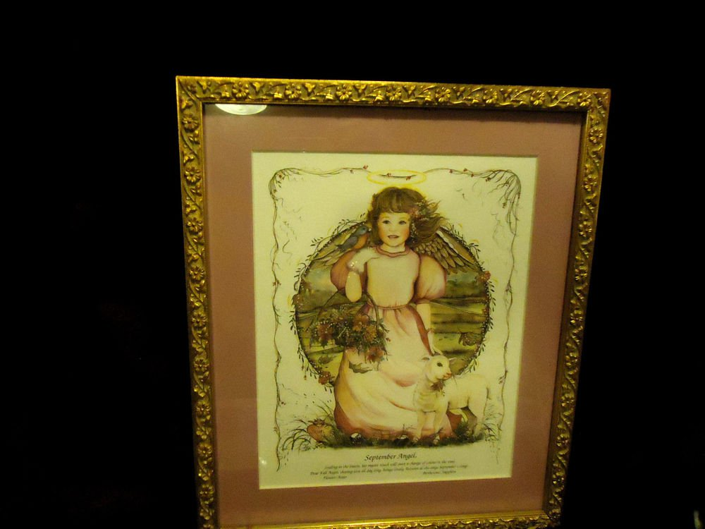 """FRAMED & MATTED """"SEPTEMBER ANGEL"""" PICTURE BY ARTIST SUE SKEEN...APPROX 11"""" X 12"""""""