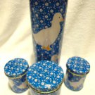 NIB PASTA TIN SET....BLUE WITH WHITE DUCKS...FOUR PIECES.....GREAT ACCENT PIECES