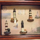 WOODEN SHADOWBOX WALL ART PICTURE..RAISED LT HOUSES & INFORMATION ON HATTERAS