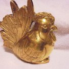 NICE VINTAGE SOLID BRASS ROOSTER FIGURINE-HEAVY-NICE AGED PATINA...CHECK PHOTOS