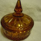 VINTAGE AMBER INDIANA GLASS COVERED CANDY DISH/BOWL WITH LID...VERY OLD