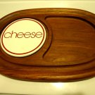 VINTAGE LARGE TEAK WOOD  CHEESE CUTTING & SERVING TRAY...THAILAND..
