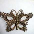 "VINTAGE SIGNED ""HEDY"" ANTIQUED GOLD GILT BROOCH IN THE SHAPE OF BUTTERFLY"