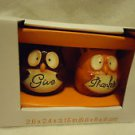 "ESSENTIAL HOME BOXED SET OF SALT &  PEPPER SHAKERS...""GIVE THANKS""  BROWN/ORANGE"