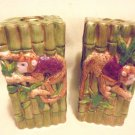 NICE SET OF TWO CERAMIC MONKEY CANDLEHOLDERS...GREAT COLORS....TAPER CANDLES