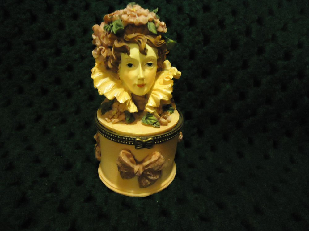 TRINKET BOXLADY HEAD....DETAILED/DELICATE MOLDED...GREAT ACCENT