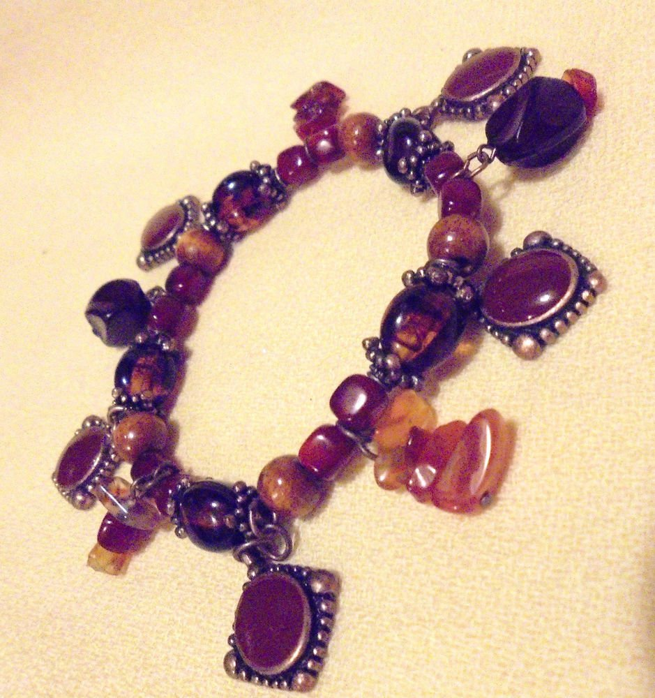 STONE BEAD CHARM BRACELET...BROWN TONES...SO UNIQUE