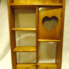 """VINTAGE ALL WOOD WALL SHELF WITH HEART CUT OUT & HANGING KNOBS..18""""X9""""...."""