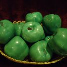 10 BEAUTIFUL CERAMIC GREEN APPLES-INDIVIDUAL-IN STRAW BASKET..SO PRETTY