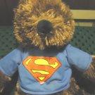"SUPERMAN PLUSH BROWN BEAR DC COMICS...KELLYTOY....APPROX 15"" TALL...BLUE SHIRT"
