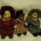 TWO PORCELAIN FACE SMALL CLOWNS WITH SOFT BODY & ONE PORCELAIN FACE DOLL