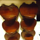 SET OF TWO ALL WOOD HEART SHAPED 3 SHELF WALL HANGING-VERY OLD..ESTATE SALE FIND