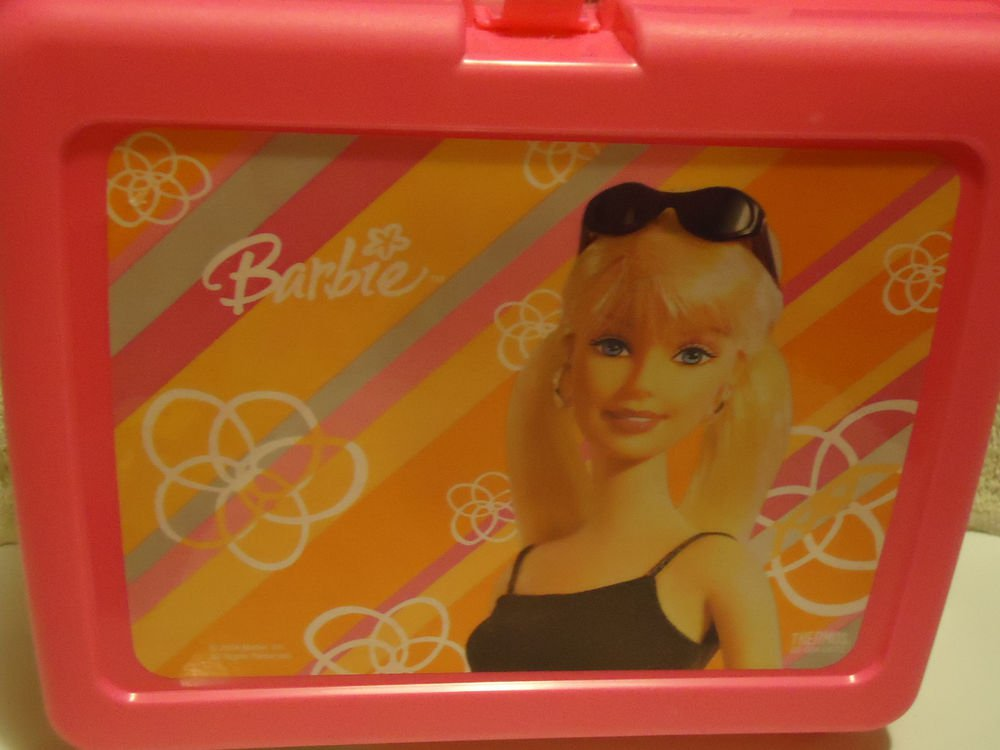 """""""BARBIE"""" BRIGHT PINK HARD PLASTIC LUNCH BOX WITH THERMOS.....NEW....2004"""