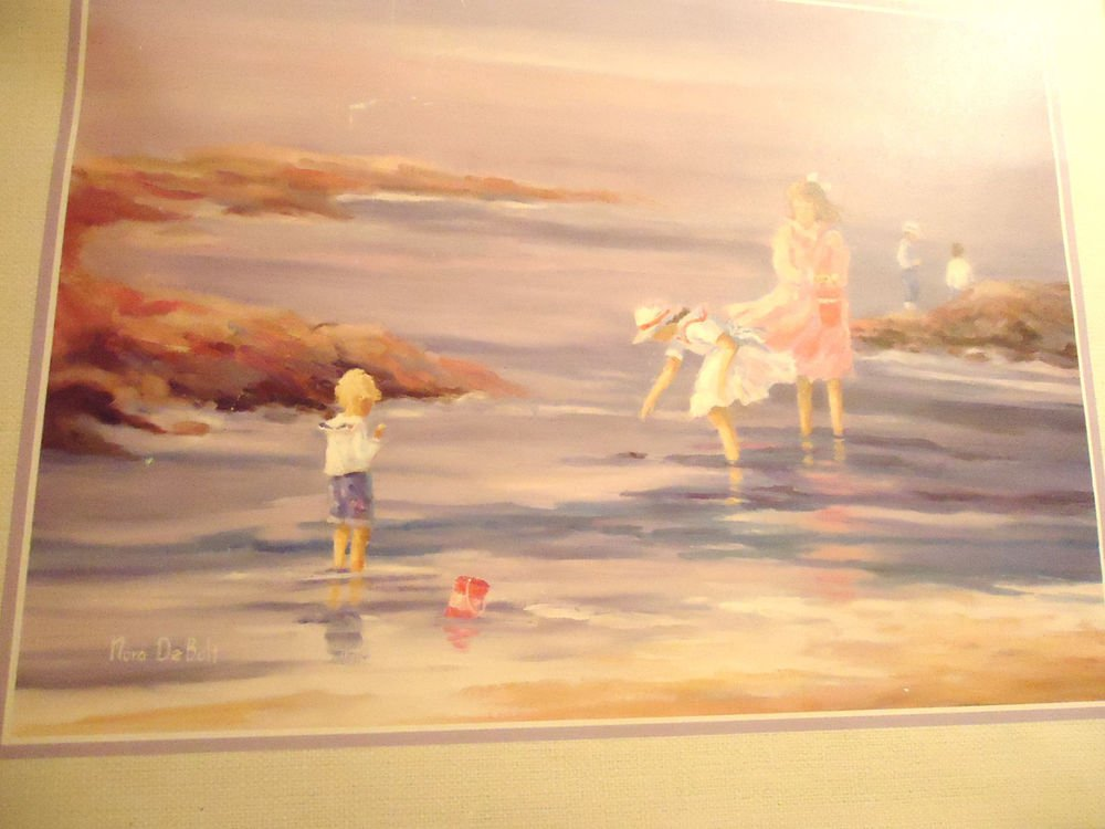 "14""x11"" LITHO WATERCOLOR PRINT BY NORA DEBOLT ""PLAYING IN THE WATER"""