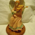 "9"" ANGEL FIGURINE PLAYING VIOLIN..GREAT COLORING...ON NICE WOODEN BASE"