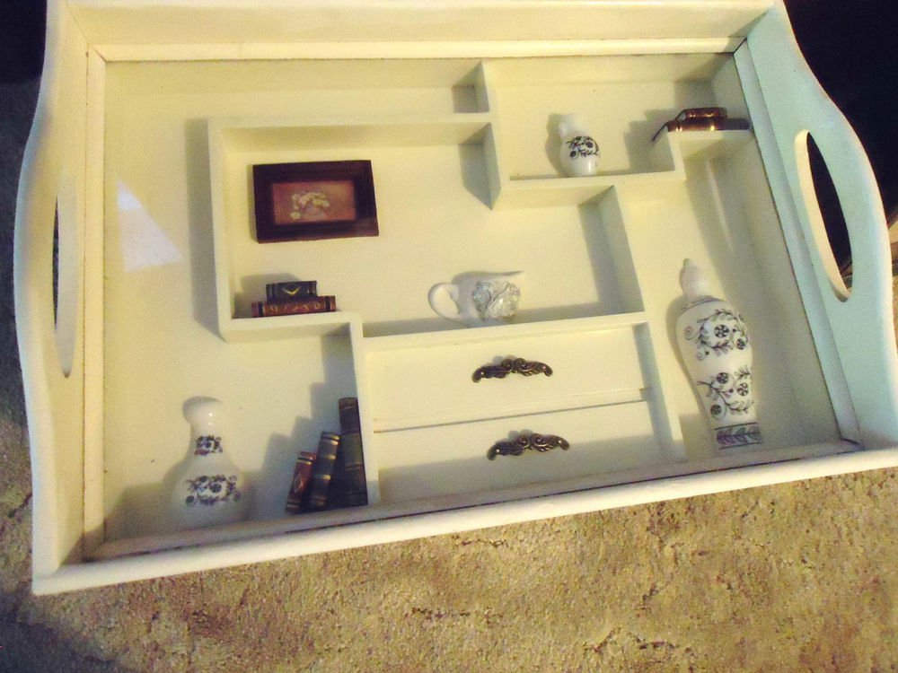 UNIQUE CREAM WHITE WOODEN HANGING WALL SHADOW BOX ....GREAT ACCENT PIECE