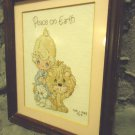 "FRAMED, MATTED FINISHED ""PEACE ON EARTH"" CROSS STITCH..CHILD, LION & LAMB..NICE"