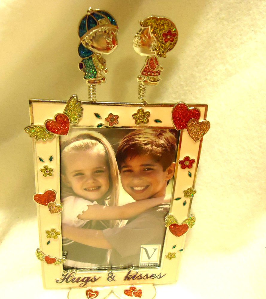 """DECORATIVE """"HUGS & KISSES"""" PEWTER PICTURE FRAME...ENAMELED...HEARTS/FLOWERS/"""