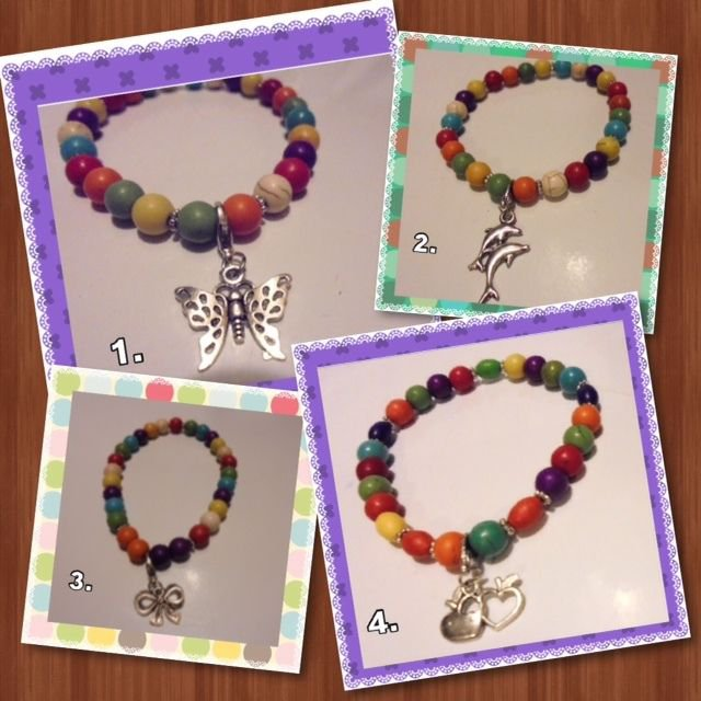 HANDMADE WOODEN MARBLE LINED MULTI COLORED STRETCH BRACELETS...CHOOSE ONE