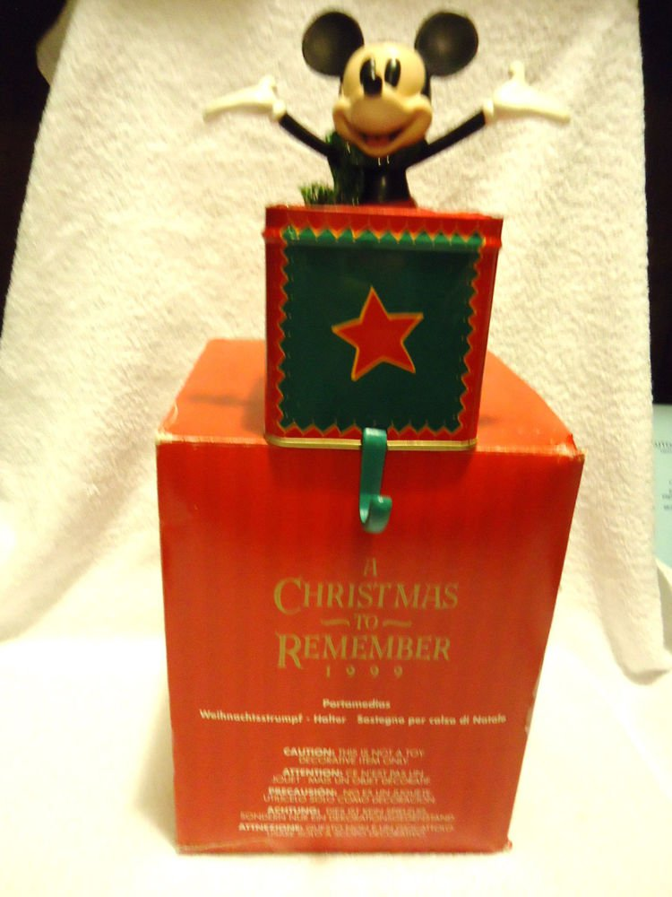 1999 DISNEY MICKEY MOUSE CHRISTMAS STOCKING HOLDER HANGER...JACK IN BOX STYLE