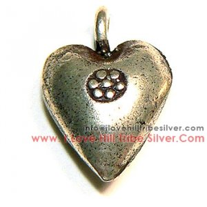 5 Heart with Tribal Printed Charms by I Love Hill Tribe Silver